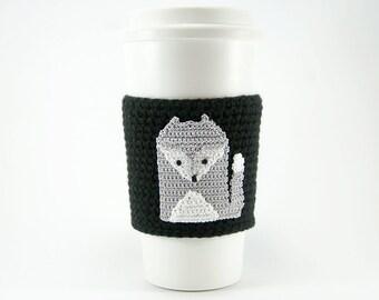 Silver Gray Fox Cozy, Gray wolf, cup cozy, coffee cozy, crochet sleeve, crochet fox applique, black sleeve, grey fox with white highlites