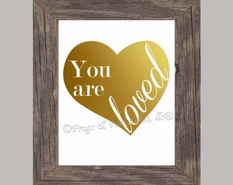 You Are Loved Gold Foil Heart Paper Print Wall Art