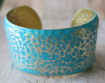 Gift, Hammered Cuff Bracelet Turquoise Bracelet Wide Statement Gold Cuff Bracelet Mother's Day Gift Thick Cuff Verdigris Turquoise Cuff