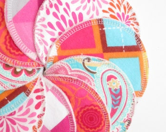Cloth Nursing Pads--5 Pairs--Bright Modern Pink Mix--Fleece/ZorbII/Flannel--Ready to Ship