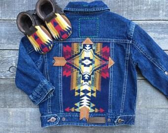Cheyenne Hipster Jean Jacket 24 months // Pendleton Suede Leather // Rosebud Originals