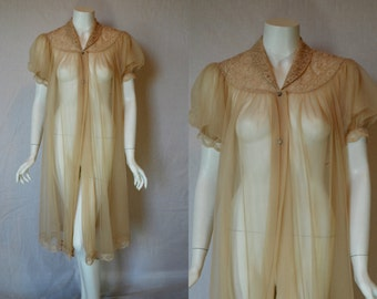 1950s Shadowline Nude Sheer Robe, Small, Peignoir Dressing Gown
