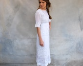 Early 1900s antique Edwardian tea dress - 1920s tea length sheer white hand  embroidered and lace wedding dress- - x small/small