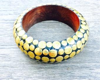 Vintage 60s MOD bangle bracelet -black and gold wooden bracelet - black with gold dots