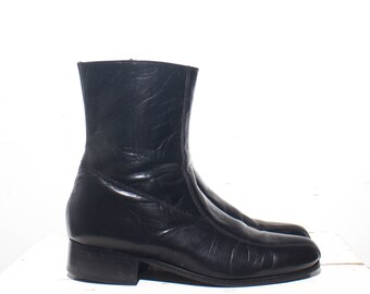 7 D | Nunn Bush Black Leather Zipper Beatle Boots Men's Dress Boots