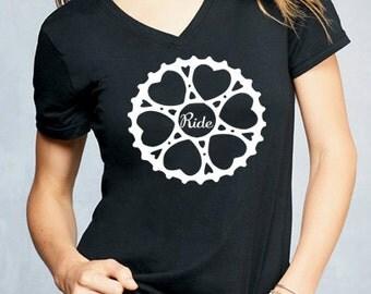 Ride Gear Shirt, Basic Tshirt, V Neck Shirt, Weekend Shirt, Bike TShirt, Grey Shirt, Womens Shirt, Fitness Shirt