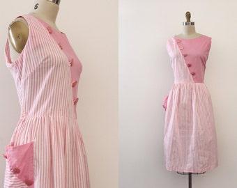 vintage 1950s dress // 50s pink cotton day dress