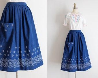 vintage 1950s skirt // 50s blue bandana print skirt