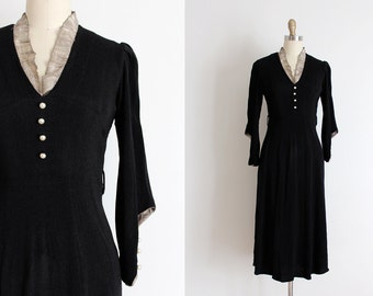 vintage 1930s dress // 30s black evening dress with metallic details