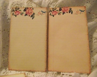 Journaling Cards With Roses And Birds  Glittered  And Distress Edges