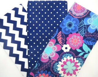 3 Pack of Flannel Fat Quarters in Bright Flowers, Swiss Dot and Navy and White Chevron Matching Prints