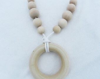 Beaded Wood Teething Ring Necklace