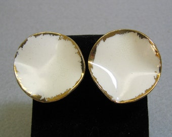 Porcelain Clip On Earrings, 1980s Round White and Gold, Hand Painted