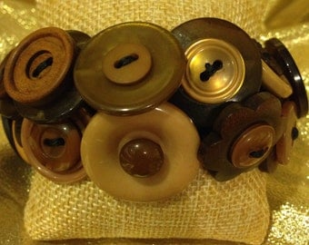 Brown and Wooden Button Bracelet