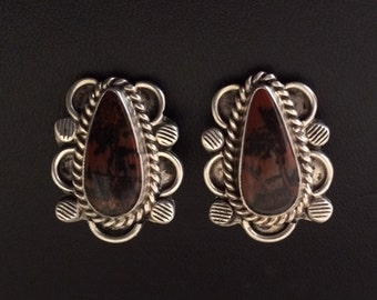 Vintage Handmade Silver and Red Jasper Stone Clipon Earrings