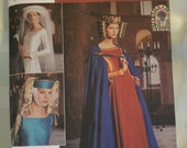 Pattern Medieval Costume Cape Headpieces Crown  Misses Tall Simplicity Sewing