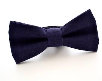 Mens Bowtie in Lapis Linen Pre-Tied and Adjustable, Navy Blue/ Plum Bowtie, Wedding Bowties, Groomsmen Bow Tie