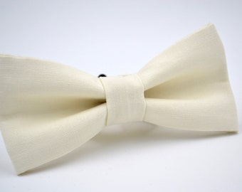 Mens Bowtie in Off-White Twill, Ivory Bow Tie, Cream Bow Tie, Mens Ivory Bow Tie