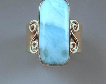 Larimar -Golden Sunshine and Blue Sky- Azure Blue Larimar -Hammered Nu Gold - Adjustable Larimar Ring
