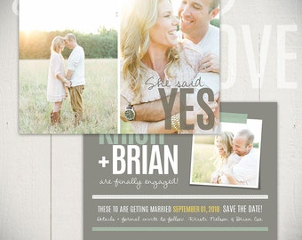 Save The Date Card Template: Beloved Card B - 5x7 Engagement Card Template