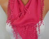 Teacher Gift Hot Pink Scarf Winter Accessories Pashmina Scarf - Shawl Scarf -  Cowl Scarf  Bridesmaid Gift For Her Women Fashion - fatwoman