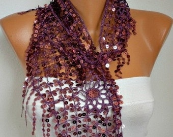 ON SALE - Sequin Floral Scarf  Shawl Scarf - Bellydance - Cowl Scarf  Women's Fashion Accessories