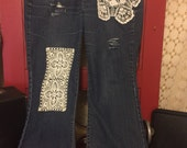 Plus size Womens Jeans vintage doilies and lace ready to ship size 20 plus size restyled jeans