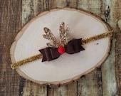 Rudolph  Felt Bow Headband- Felt and Glitter Bow - Christmas Bow - Holiday Bow- Reindeer Headband