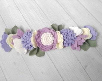 Wool Felt Flower Crown in Purple and Cream-Flower Headband - Baby Headband-Hair accessories-9 inch flower crown-Baby Flower Headband-