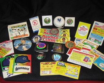 Vintage Mix Lot  Topps, Fleer Baseball Collectibles 70+ items Toys, Coins, Cards, Pinbacks, Give-Aways