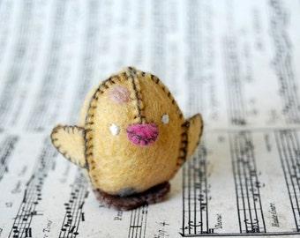 Yellow Felted Baby Chicken Toy -- Handmade Felt Pure Wool Unique Baby Chicken