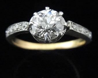 Antique 1.4 carat Diamond Platinum 18k Gold Engagement Ring Certified Appraised 9,075