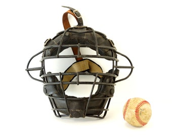 Vintage Baseball Catchers Face Mask with Metal Grid, Leather Straps (c.1970s) - Collectible, Baseball Home Decor