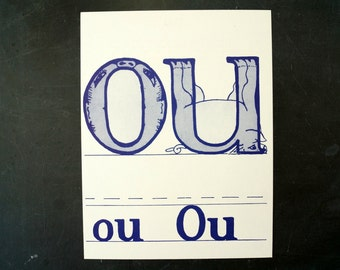 "Vintage Letters ""OU"" Flashcard / Phonics Card, 7"" tall (c.1958) - Collectible, Altered Art Ephemera, Home Decor, and more"