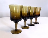 Mid Century Brown Smoke Glass Set of 4 / Amber Glass / Retro Barware / Brown Smoke Glassware / Vintage Brown Pedestal Glasses