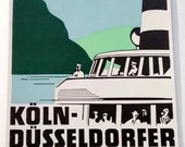 Rare KOLN Dusseldorfer Luggage Label 1950s Original Old KD Rhine Baggage Travel Stickers Crafts Scrapbook Blue green Black White