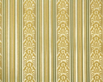 Retro Flock Wallpaper by the Yard 70s Vintage Flock Wallpaper - 1970s Gold and Green Flock Stripe
