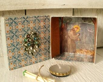 Mini prayer box Christian shrine St Francis meditation upcycled embellished pocket size