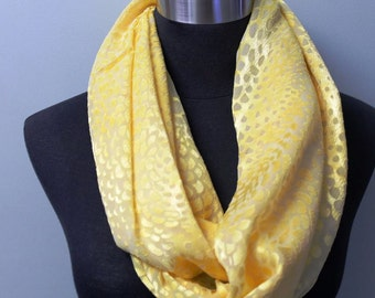 Yellow Textured Infinity Scarf