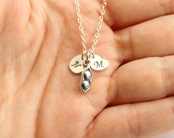 Sterling Silver Two Peas In a Pod Necklace with Initial Hearts