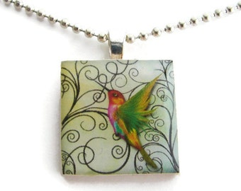 Green Hummingbird Pendant with Free Necklace