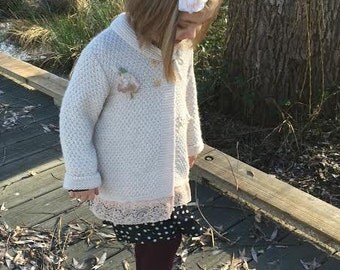 CUSTOM made to order Example ivory vintage french lace send me clothes spring easter boho rustic child vintage rose fashion sweater