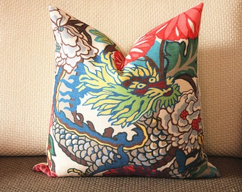chinese dragon Dragon Alabaster Throw Pillow Cover - Decorative Pillow - Solid Linen Back - 14x18, 16x16, 18x18, 20x20, 22x22 369