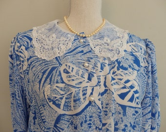 Blue Botanical Dress / 80's Floral midi Dress  / Size L- XL Plus Size