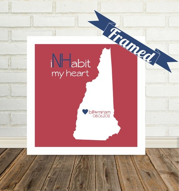 NEW HAMPSHIRE Map Print Wedding Gift Frame Personalized Gift for Couple Art Engagement Gift Valentines Day Gift New Hampshire Art