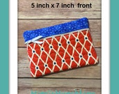 Red & Blue Quilted Zippered Cosmetic Bag/ Make Up Bag/ Cell Phone Bag/Eyeglass Case/ Toiletry Bag/ Ready to Ship