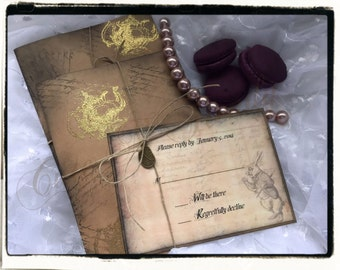 Alice In wonderland vintage Inspired/ tea time / Embossed wedding invitation suite