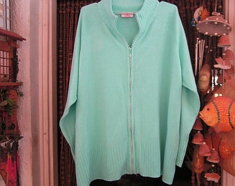 Sparkling Rhinestones Embedded Zip-Up Front Knit Sweater, Vintage - Large to XLarge