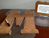 Rustic Wood Wedding Guest Book Letter & Framed Sign with Free Marker