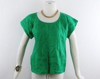 Vintage SAINT LAURENT Rive Gauche EMERALD Green Linen Loose Fit Cap Sleeve Blouse Size 42